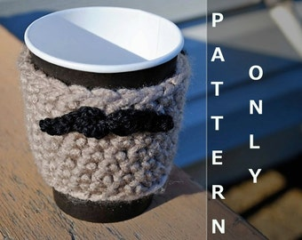 Crochet Pattern for Mustache Coffee Sleeve