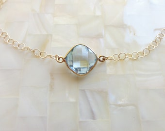 Step-Cut Faceted Genuine Blue Topaz Vermeil Bezel Connector Gold Chain Necklace (N1652)