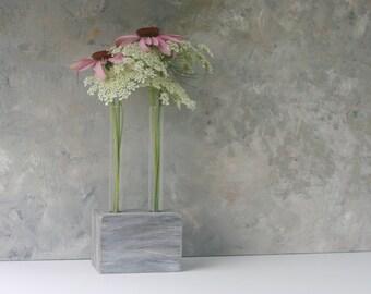 Bud Vase, Test tube Flower vase, Faux barn wood, small vase,rustic decor, ooak