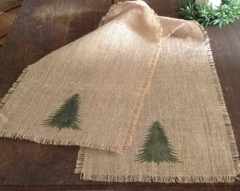 Burlap Christmas Tree Table Runner 12x96 to 144 Rustic Holiday Table Decor by sweetjanesplan