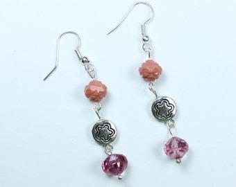 """Earrings - Czech Glass Beads - Light Pink - Silver Flower Beads """"Princess"""""""