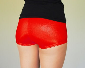 Shiny Ruby Red Roller Derby Shorts - size XS in stock