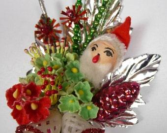 Christmas Corsage Decoration Vintage Spun Cotton Santa Claus Mercury Glass Pine Cone Mica Bells Forget Me Nots Retro Holiday in Gift Box