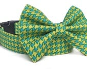 Houndstooth Dog Collar Bow Tie / Bow Tie Dog Collar / Chartreuse Dog Collar / Blue & Yellow-Green Dog Collar / Preppy Dog Bowtie /