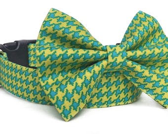 Houndstooth Dog Collar Bow Tie / Bow Tie Dog Collar / Chartreuse Dog Collar / Blue & Yellow Dog Collar / Plaid Dog Bow Tie