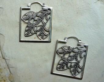 Silver Hoop Earrings, Square Earrings, Leaf Motif Hoops, Filigree Earrings, Square Hoop Earrings