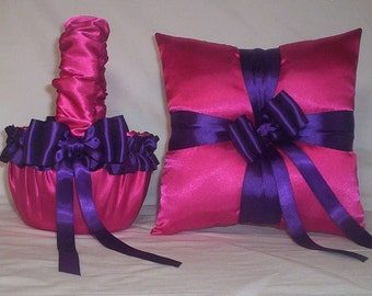 Fuchsia Hot Pink Satin With Regency Purple Ribbon Trim Flower Girl Basket And Ring Bearer Pillow