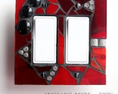 Romanting Red - Crimson Double Mosaic Rocker Light Switch Cover GFCI Outlet Wall Plate