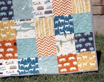 Rustic Quilt, Deer Buck Elk Bears, Woodland Forest, Birch, Navy Orange Yellow Blue, Baby, Toddler, Crib Bedding, Campers, Modern, Boy, Girl