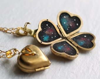 Constellation Star Locket ... Personalised Heart Locket Painted Zodiac