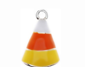 Silver Plated, Enameled Candy Corn Charm, Qty.1
