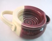 Shaving Scuttle Mug Cup Bowl For Comfort Hot Wet Shave - Handmade Pottery Glazed Dark Cranberry and Ivory