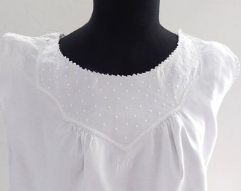 French Vintage Chemise Nightgown Fine Linen with Tucks and Hand Embroidery