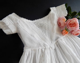 Ayrshire Handmade Antique Christening Gown Elegant with Exceptionall Lavish Embroidery