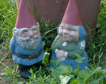 "Mr & Mrs Gnome 9"" Tall Set Item R53P Blue"