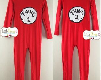 Thing 1 or 2 Red-UNITARD /Child ---Mock- Neck Long Sleeve Unitard....Spandex-Nylon- (Shiny)