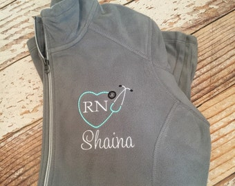 Personalized stethoscope full zip fleece jacket, nurse practitioner jacket, registered nurse gift, rn, lpn, monogrammed
