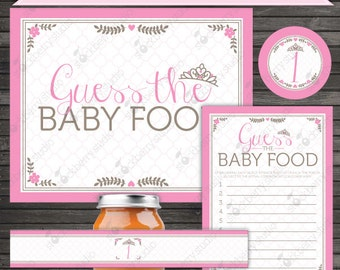 Princess Baby Shower Guess the Baby Food Game - Instant Download - Girl Baby Shower Games Printable - Baby Shower Activities - Party Games