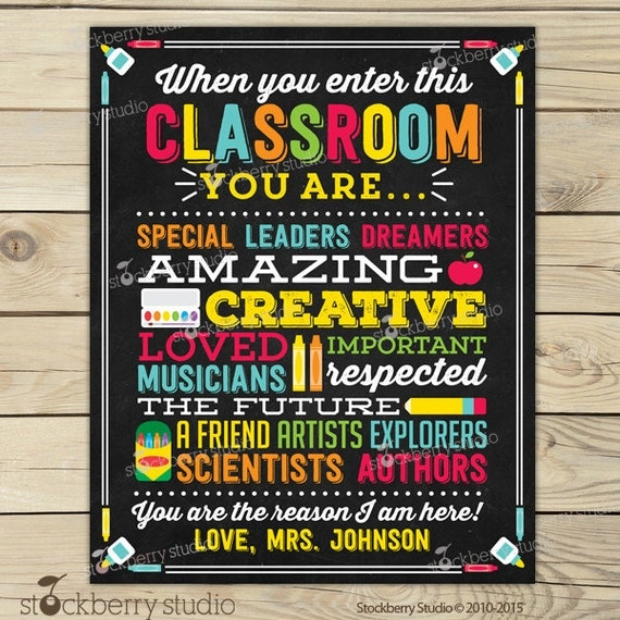 Classroom Decoration Printables ~ Teacher classroom decor personalized sign