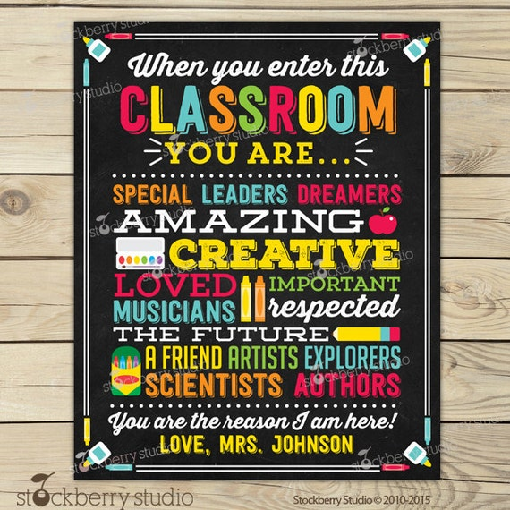 Classroom Birthday Ideas For A Teacher ~ Teacher classroom decor personalized sign