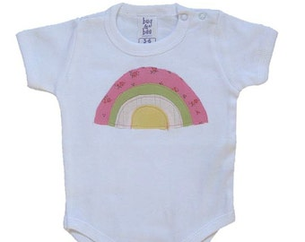 Rainbow Onesie - Baby Girl Clothing - Colorful Rainbow Applique on White Bodysuit - Available in short or long sleeve