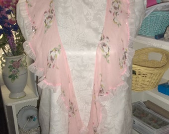 Vintage Pink Floral Ruffle Scarf Pink Beading Darling Just Reduced
