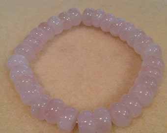Rose Quartz 10mm Rondelle Stretch Bead Bracelet with Sterling Silver Accents