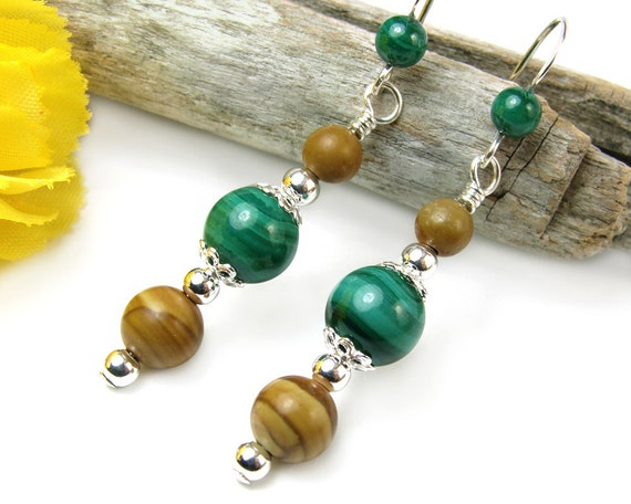 Green Malachite Handmade Earrings Picture Jasper Sterling Silver Gemstone Beaded Dangles