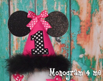 Minnie Mouse hot pink Birthday Hat, Birthday Cap