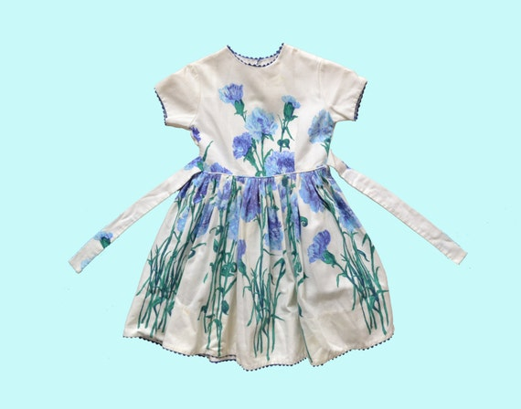 1950s Blue Flower Childs Dress