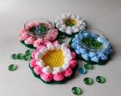 PDF Instant Download Easy Crochet Pattern No 121 Lotus Flower Coasters ornaments home decor applique
