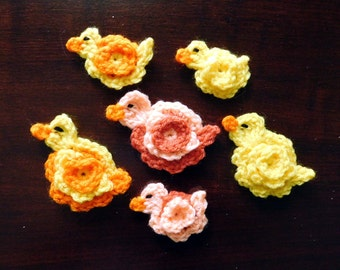 PDF Instant Download Easy Crochet Pattern No 128 Duck and Duckling Crochet Applique