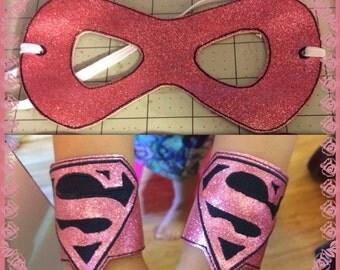 Super girl mask & wrist bands