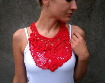 Free form crochet necklace... collar hot red