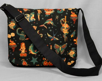 Large Canvas Messenger Bag, Traditional Vintage Tattoos, 13 - 15 Inch Laptop, Tablet and Phone Zipper Pockets