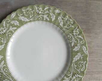 Green Transferware Dinner Plates | Set of 4 Meakin Lucerne Staffordshire Ironestone Plates | J G Meakin England Dinnerware
