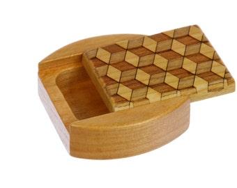 """DISCONTINUED S- REDUCE PRICE Cube Pattern, Sliding Lid Storage Box, Solid Cherry, 1-3/4""""L x 1-7/8""""W x 3/4""""D, Mini Box , Paul Szewc"""