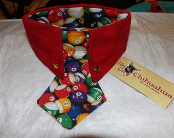 Large size - Shirt collar in red Flannel with colorful Flannel pool ball neck tie for dogs - D48L