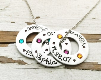 Hand stamped mommy necklace washer swarovski birthstone jewelry shop exclusive font childs name and birthdate heart