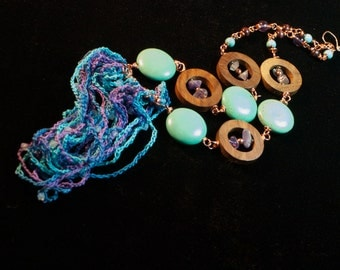 Artistic Boho Bib Necklace Turquoise and purple Wood Circles amethyst chips on Copper Wire - Sweet Dreams - Boho Chic Art Jewelry