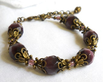 victorian bracelet purple filigree bracelet purple beaded bracelet purple jewelry victorian jewelry beaded jewelry victorian style bracelet
