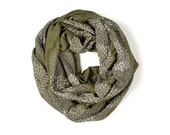 INFINITY SCARF - Screen Printed - Gray Flowers on Army Green