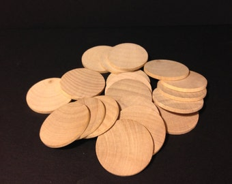 100 Unfinished wood disc  1.5 inches Diameter