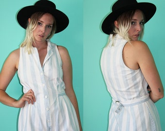 Vintage VTG VG 1990's 90's Striped White and Blue Denim Jumper One Piece with Belt Summer Romper Women's One Piece by SQUEEZE Size 9 / 10