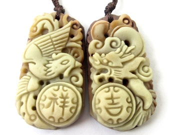 Pair Of Two Layer Natural Stone Carved Auspicious Dragon Phoenix Love Amulet Pendant 36mm*21mm  ZP073