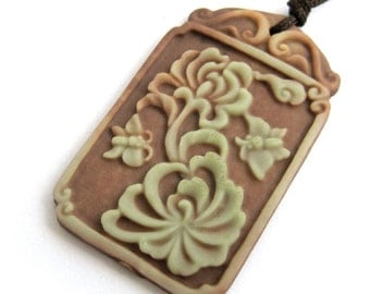 Two Layer Natural Stone Flower Butterfly Pendant Fortune 40mm*25mm  ZP085