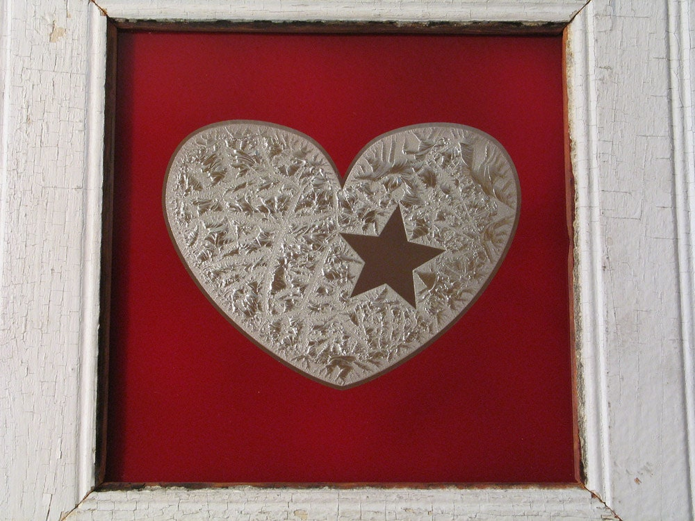 of my glue chip mirror w white vintage wood frame