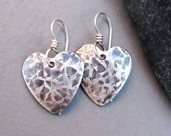 Hammered Silver Heart Earrings Sterling Silver Earrings Distressed Metal Texture Artisan Handmade Modern Tribal Edgy Jewelry
