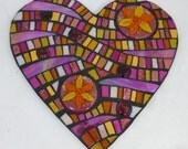 Pink  and Orange Mosaic Mixed Media Heart Panel with Fused Glass Flower Roundels