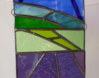 Stained Glass Lavender Fields with Blue Sky Light Catcher Sun Catcher
